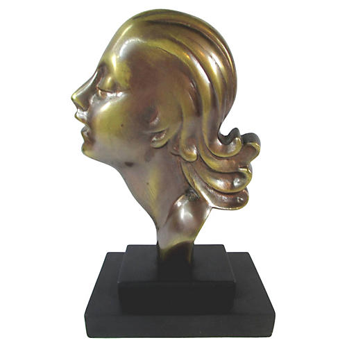 Art Deco-Style Bronze Bust