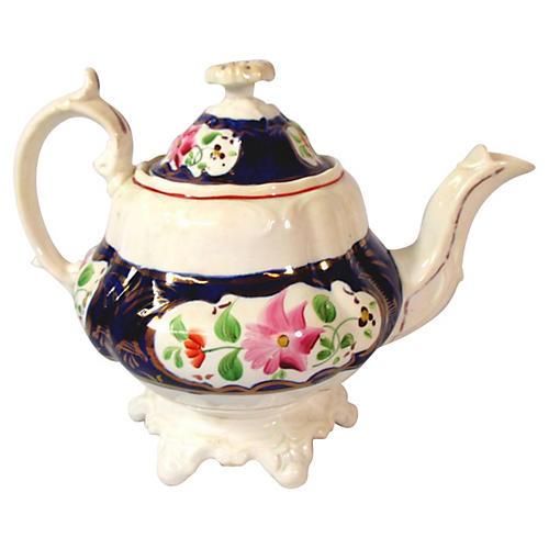 Staffordshire Gaudy Dutch Teapot
