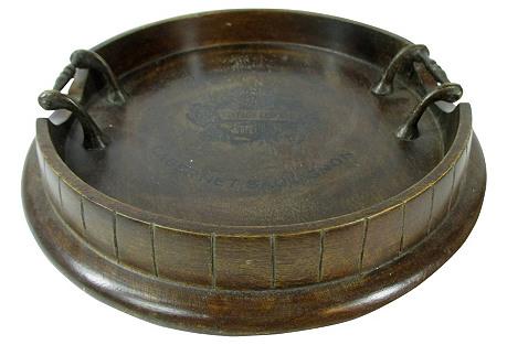 English Oak Brass-Handled Serving Tray