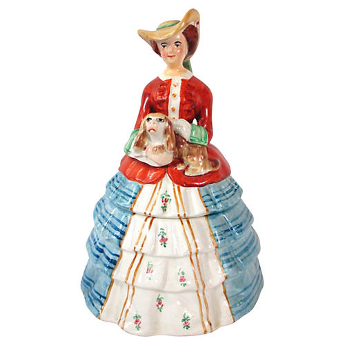 English Figural Lady & Dog Lidded Box
