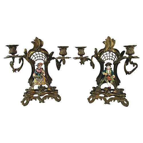 French Rococo Old Paris Candleabra, Pair