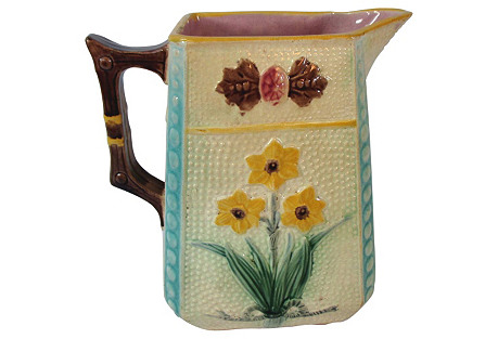 Large English Majolica Floral Pitcher