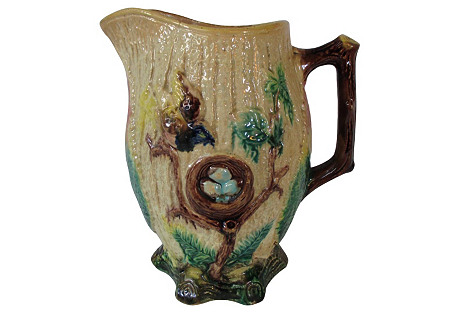 Majolica Bird Nest Large Pitcher