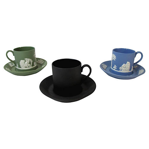Wedgwood Cups & Saucers, S/3