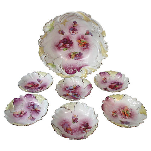 Prussia Pansy Flower Bowl Set, S/7