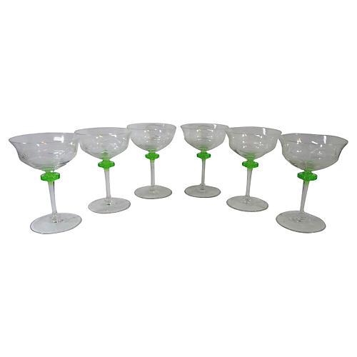 Uranium Glass Decorated Coupes, S/6
