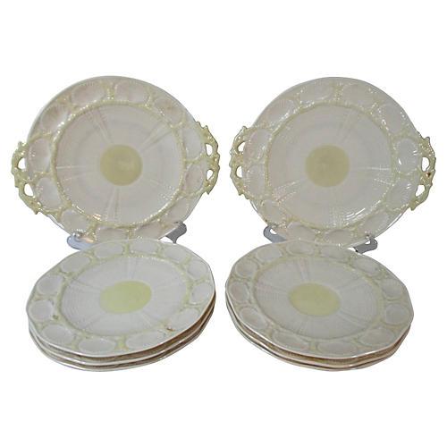 Irish Belleek Shell Plates & Servers S/8