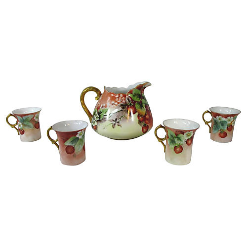 Hand-Painted Strawberry Beverage Set S/5