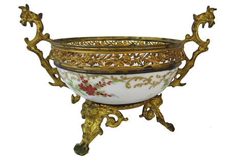 French Sevres Floral Bowl In Brass Frame