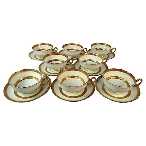 Royal Doulton Cups & Saucers, S/8