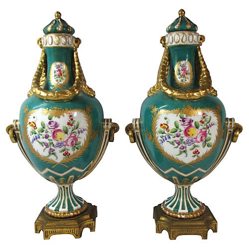 French Sevres Hand-Painted Urns, Pair