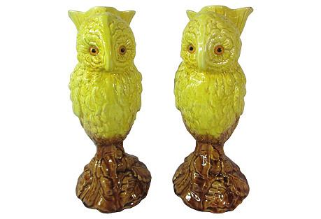Antique Majolica Owl Vases, Pair