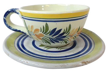 Early Quimper Cup & Saucer