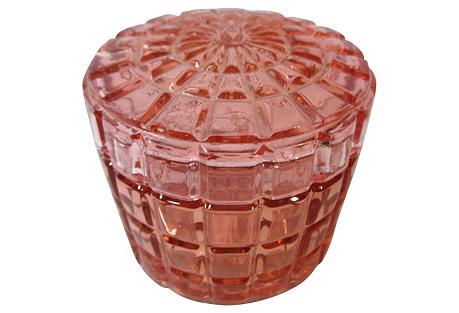 Round Pink Glass Lidded Vanity Jar