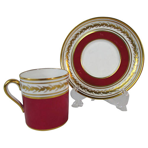 Spode Red & Gold Cup & Saucer