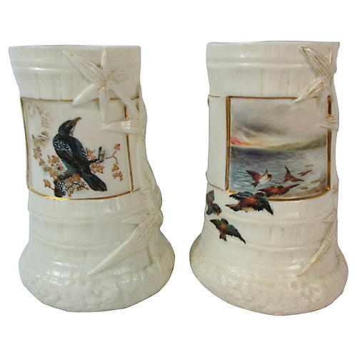 Worcester Birds Aesthetic Vases, Pair
