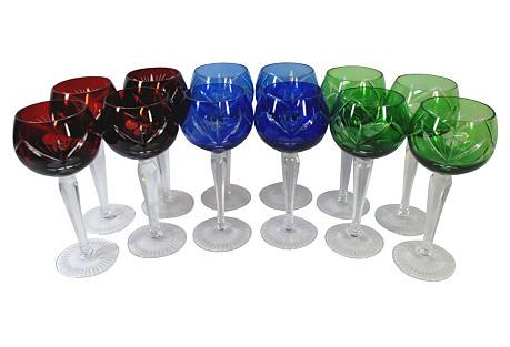 Bohemian Cut Glass Tall Goblets, S/12