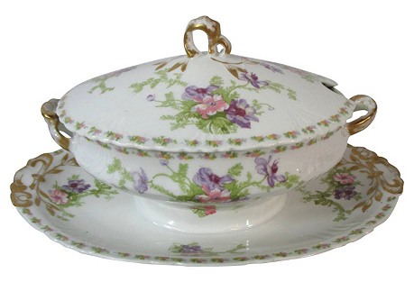 Limoges Sauce Tureen w/ Attached Plate