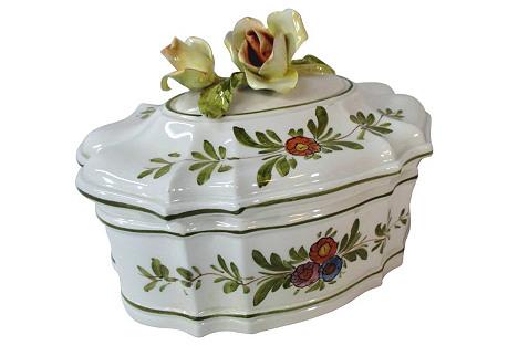 Rose Finial Italian Porcelain Box