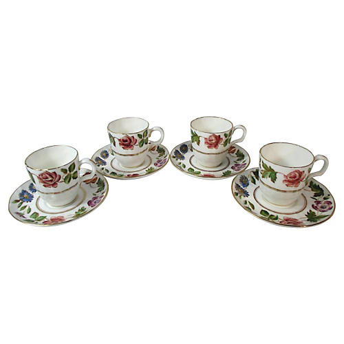 Mintons Floral Demi Cups & Saucers, S/4