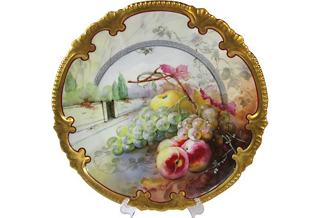 Hand-Painted Scenic Fruit Accent Charger