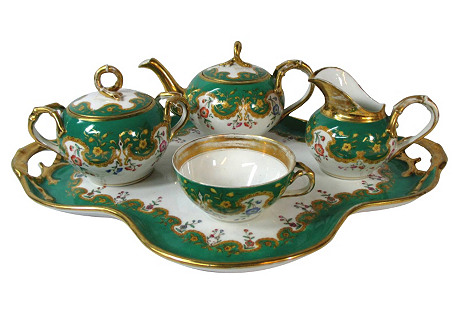 Old Paris French Tea Set, 5-Pcs