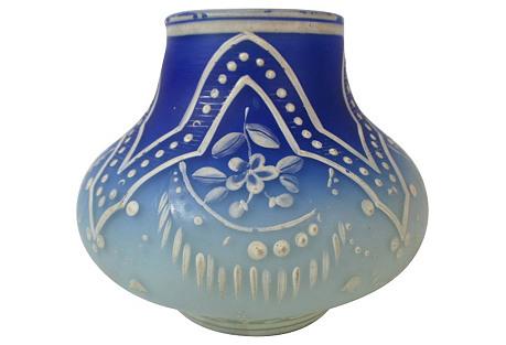 Antique Webb Art Glass Enamel Vase