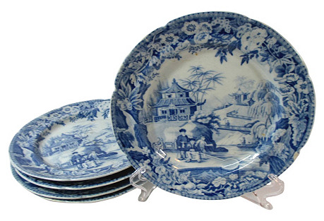 S/5 English Pagoda Plates, 1805