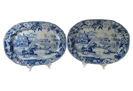 Antique English Pagoda Platters, Pair