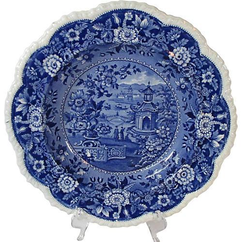 Staffordshire Pagoda Soup Plate