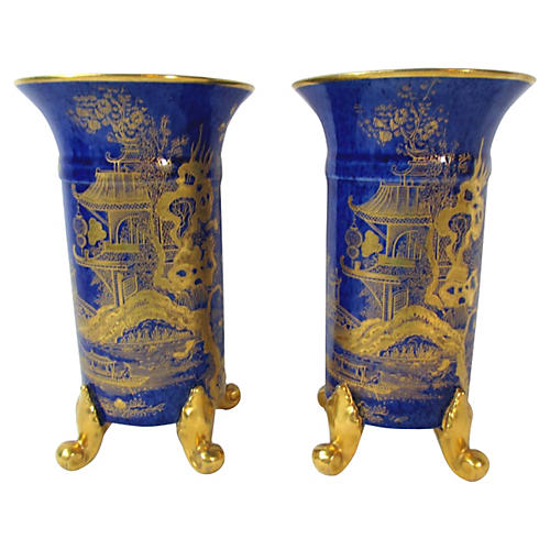 Cobalt & Gold Footed Pagoda Vases, Pair