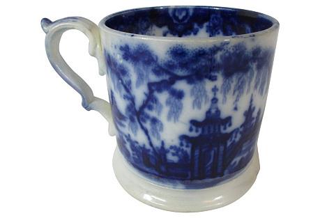 Large Staffordshire Pagoda Flow Blue Mug