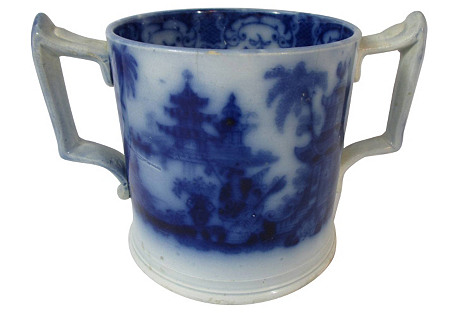 Flow Blue 2-Handled Pagoda Mug