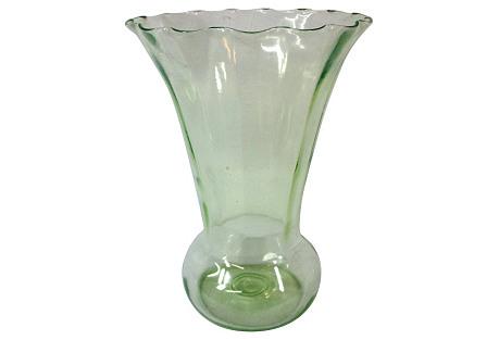 Ribbed Depression Glass Vase
