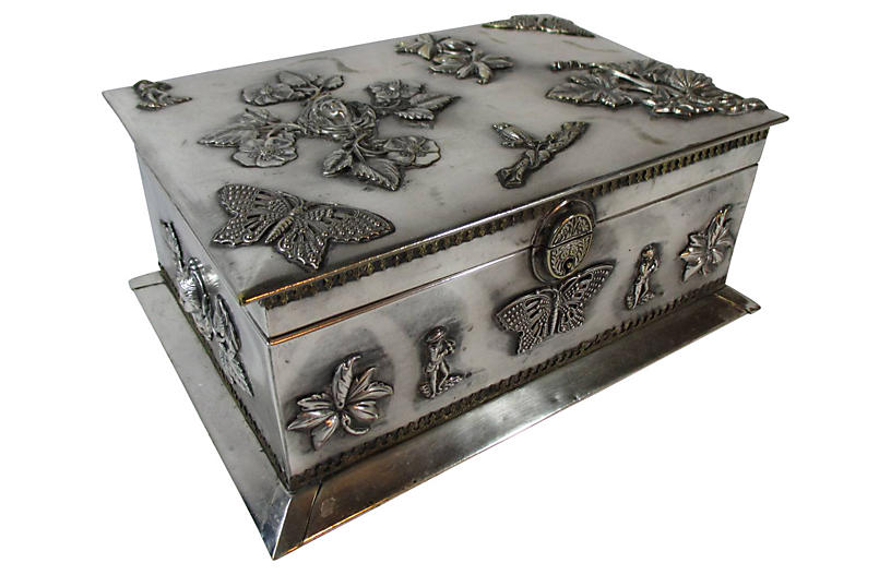 Art Nouveau Silver-Plate Jewlery Box