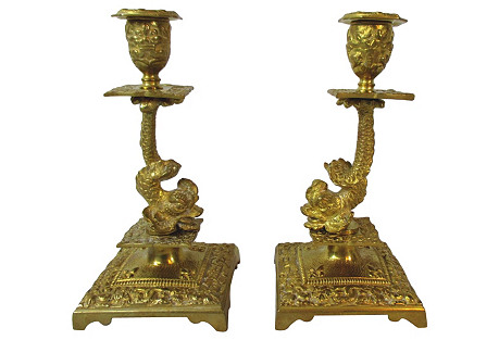 French Brass Dolphin Candlesticks, S/2