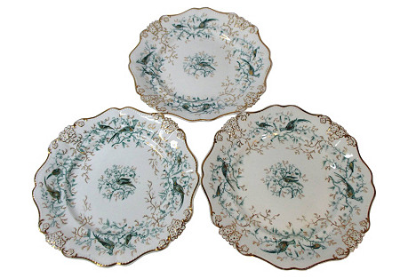 Chinoiserie Cabinet / Wall Plates, S/3