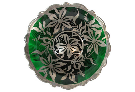 Emerald Green & Silver Large Bowl