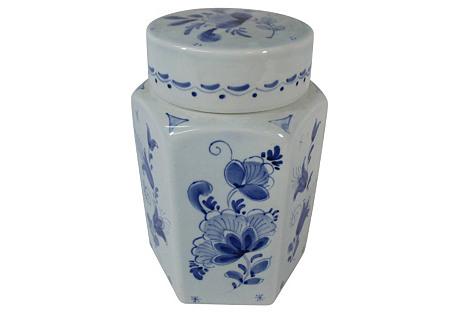 Delft Hand-Painted Lidded Tea Jar