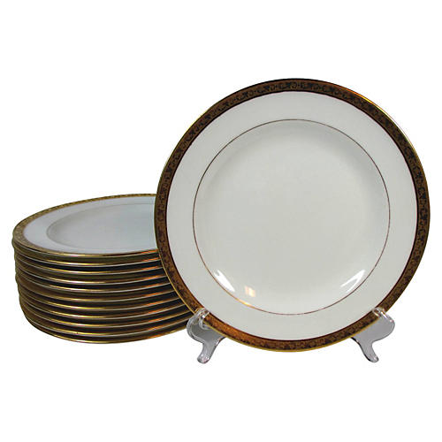 Cauldon Embossed Gold Lunch Plates, S/12