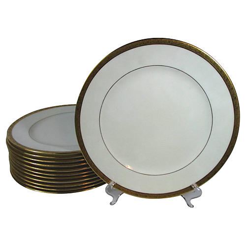 Cauldon Embossed Dinner Plates, S/12