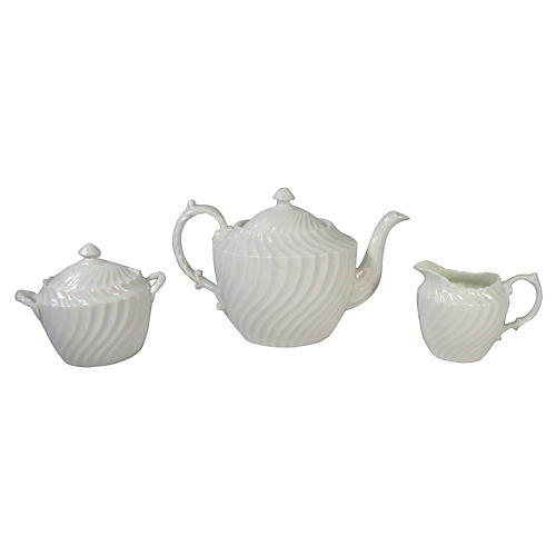 White Aynsley Swirled Tea Set, S/3