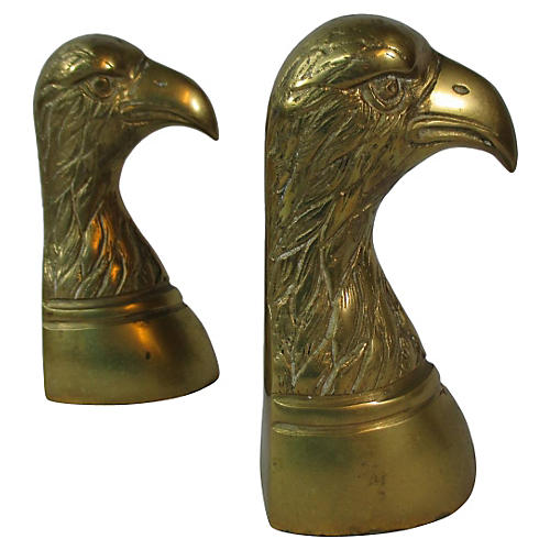 Brass Eagle Head Bookends