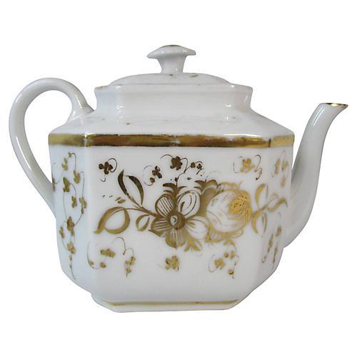 Old Paris Gold & White Teapot