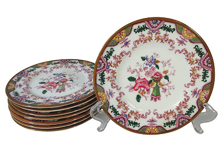 Coalport Pink Floral Pie Plates, S/8