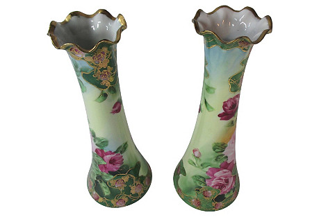 Hand-Painted Rose & Gold Vases, S/2