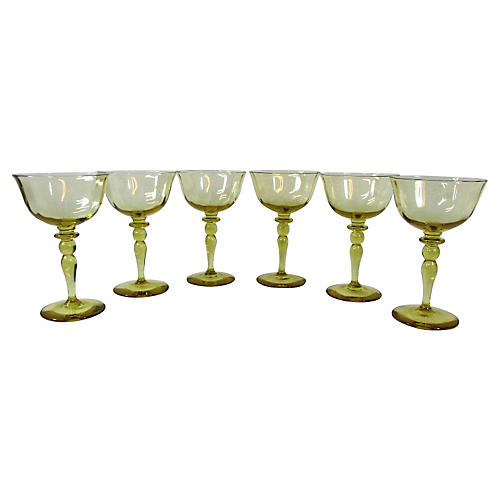 Yellow/Gold Wine Stemmed Goblets, S/6