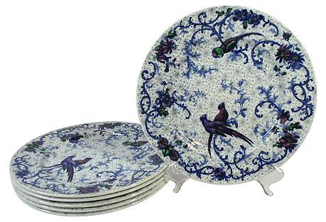 Staffordshire Parrots Dinner Plates, S/6