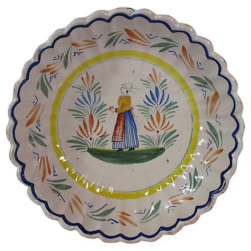 Antique Quimper Large Serving Bowl