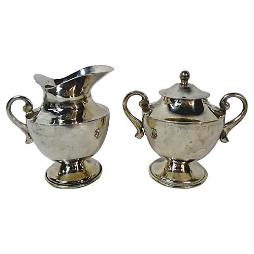 Heavy Taxco Sterling Sugar & Creamer
